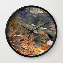 Painted Mycena in Forest Wall Clock