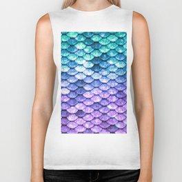 Mermaid Ombre Sparkle Teal Blue Purple Biker Tank