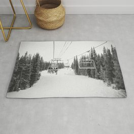"""Ski Lift"" Deep Snow Season Pass Dreams Snowy Winter Mountains Landscape Photography Rug"