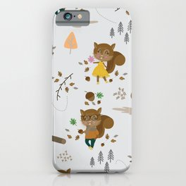 Mr and Mrs Squirrel Grey Background iPhone Case