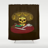 mexican Shower Curtains featuring Mexican skull by juliusllopis