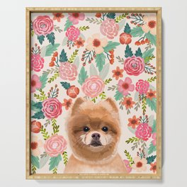 Pomeranian floral dog portrait cute art gifts for dog breed pom lovers Serving Tray