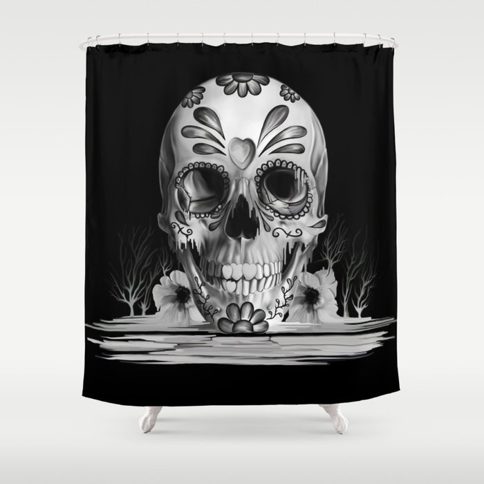 Pulled sugar, day of the dead skull Shower Curtain by ...