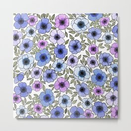 Poppy Purples Metal Print