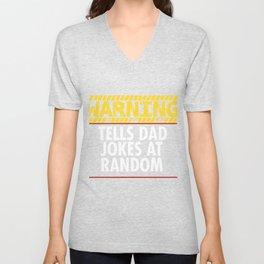 Warning Tells Dad Jokes At Random Unisex V-Neck