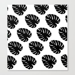 Black & White Palm Leaves Canvas Print