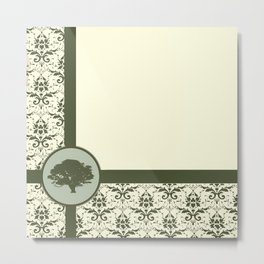 Olive Oak Damask Metal Print