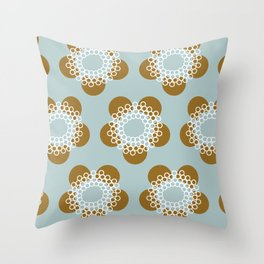 Flower Power surface pattern (blue-yellow) Throw Pillow