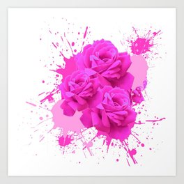 CERISE PINK ROSE PATTERN WATERCOLOR SPLATTER Art Print