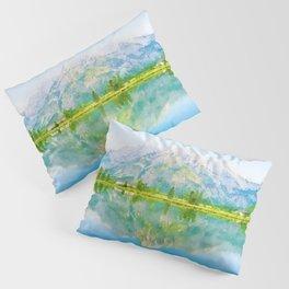 Lake reflections watercolor painting #5 Pillow Sham