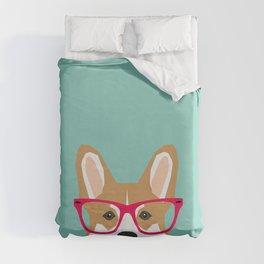 Teagan Glasses Corgi cute puppy welsh corgi gifts for dog lovers and pet owners love corgi puppies Duvet Cover