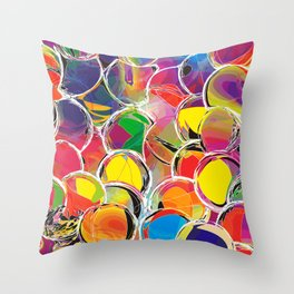 Rainbow seamless pattern with grunge circles and stripes Throw Pillow