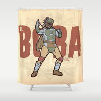 boba Shower Curtains featuring El Boba by Captain_RibMan