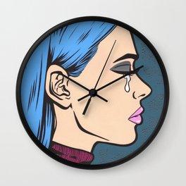 Turtleneck Tears Sad Comic Girl Wall Clock