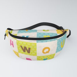 alphabet  from A to Z. Polka dot background with green blue orange square Fanny Pack