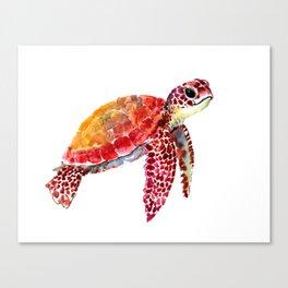 Baby Turtle decor, nursery art decor children room orange red Canvas Print