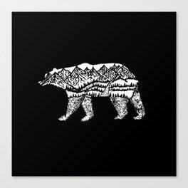Bear Necessities in Black Canvas Print