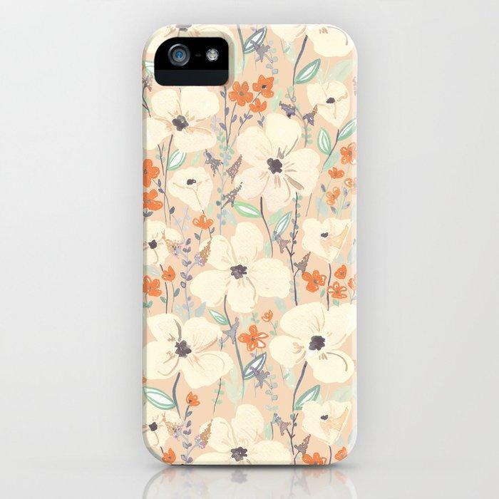 Flowers meadow beige and orange iPhone Case