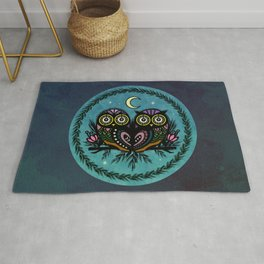 A Perfect Pair Of Midnight Moonlit Owls Rug