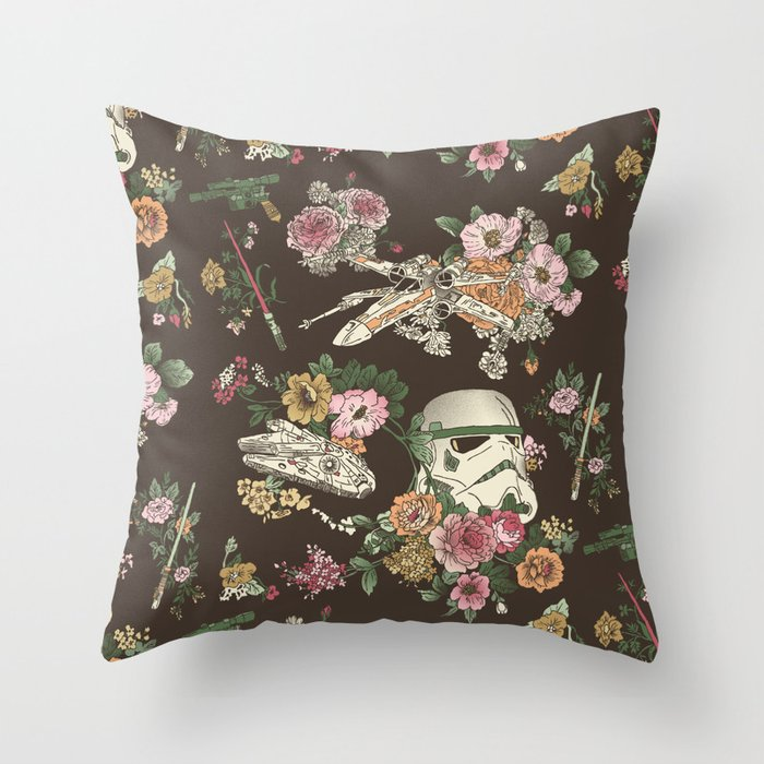 Botanic Wars Throw Pillow
