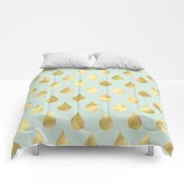 Golden Yellow Raindrops on Sage Green Background Comforters