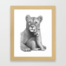 Lioness with a baby Framed Art Print