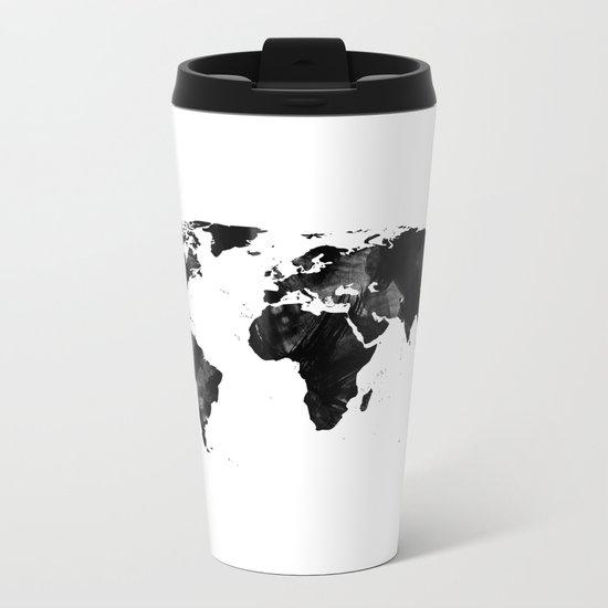 Black watercolor world map Metal Travel Mug