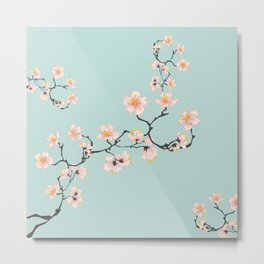 Sakura Cherry Blossoms x Mint Green Metal Print
