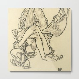 "Egon Schiele ""Woman Lying on her Back with Crossed Arms and Legs"" Metal Print"