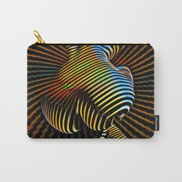 0727s-MM Sensual Abstract Figure Zebra Striped Op Art Nude Woman Back Butt Powerful Artwork Carry-All Pouch