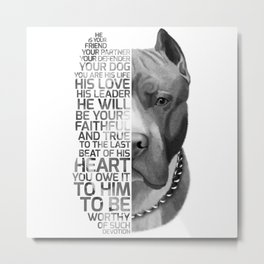 Pit Bull Print, Pit Bull Quote, Pit Bull Gift, Text Dog Portrait, Dog Art, Dog Quotes Print, Text Do Metal Print