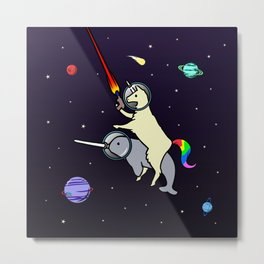 Llamacorn Riding Narwhal In Space Metal Print