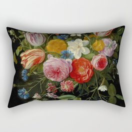 "Jan van Kessel de Oude ""Tulips, peonies, chicory, carnations, cherry blossom and other flowers"" Rectangular Pillow"