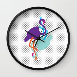 Animal Mardi Gras (Flamingo Mauve Turquoise) Wall Clock
