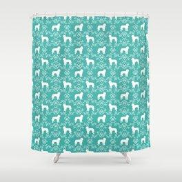 Golden Doodle dog breed silhouette floral dog breed pattern doodles Shower Curtain