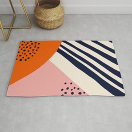 Mid-Century Abstract Painting - Orange and Navy Rug