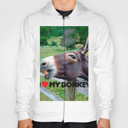 I Love My Donkey Funny Mule Farm Animal Hoody