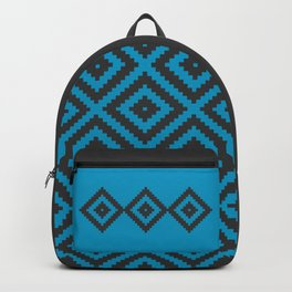 Traditional geometric pattern in modern colors, cyan Backpack