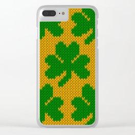 Shamrock pattern - orange, green Clear iPhone Case