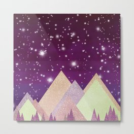 Starry Mountains Metal Print
