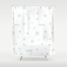 Pale Blue Memphis Pattern Shower Curtain
