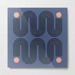 Abstraction_NEW_SUN_BLUE_LINE_POP_ART_Minimalism_0222A Metal Print