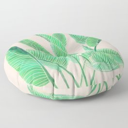 Modern pink tropical green watercolor hand painted leaf pattern Floor Pillow