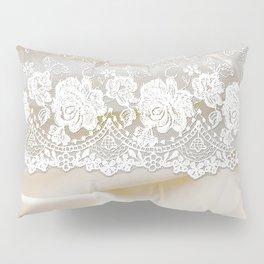 Bride lace - Luxury white floral elegant lace on cream silk fabric Pillow Sham