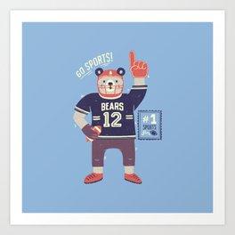 American Football Bear Art Print