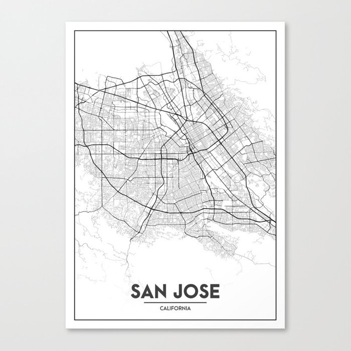 photo about California State Map Printable known as Reduced Metropolis Maps - Map Of San Jose, California, United Says Canvas Print via valsymot