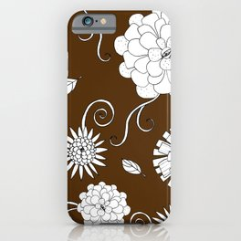 Sweet daisies on chocolate brown iPhone Case
