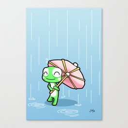 Frog with a pink party umbrella Canvas Print