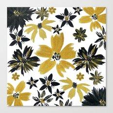 Modern hand paint watercolor faux glitter flowers Canvas Print