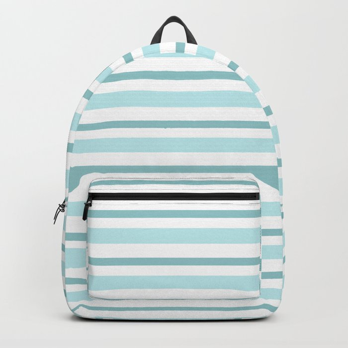 Stripes Lines horizontal - different colors of blue aqua #Society6 Backpack